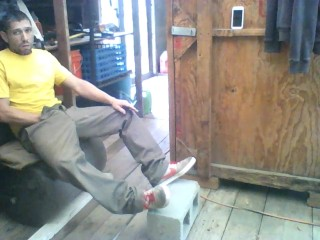 Jerking Off in Shed at Work