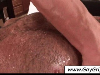 Tempting gay gets oiled ass massaged