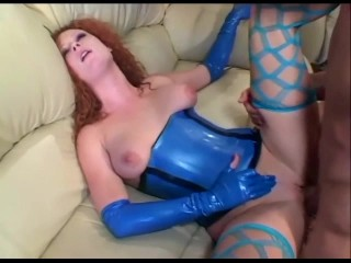 Redhead fucking in stockings and latex lingerie