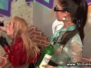 Bukkake babes covered in cum as they pull gloryhole