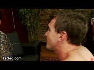 Huge dick busty tranny gets blowjob in her apartment