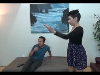 domestic discipline fendom ballbusting in thong panties with Nylea Nyx