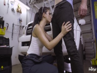 Hot babe mechanic Gina Valentina gets fucked in the garage