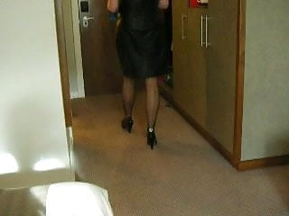 Leather Dress & Seamed Stockings