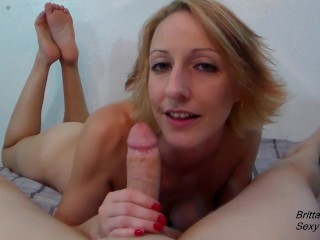 Slow blowjob by hot blonde until she gets cumshot in mouth