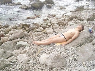 Public Beach Blowjob: Nerd sunbathing and wanted a Dick