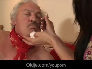 Young girl pussy-nursing old man