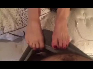 Sexy Amateur Homemade Long Red Toes Footjob with Cum on Toes