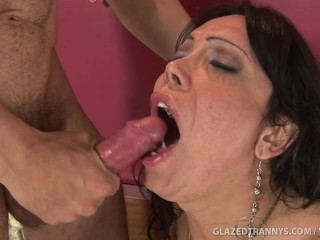Horny Tranny Loves Getting Glazed With Cum