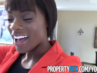 PropertySex – Truly stunning black real estate agent orgasmic sex with client