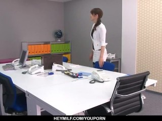 Maki Hojo tries cock in her pussy at work