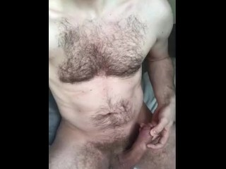 Uncut dick squirting a load