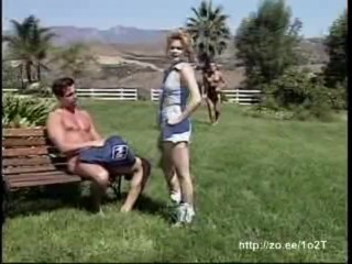 Two cowboys bangs a pretty blonde from both sides