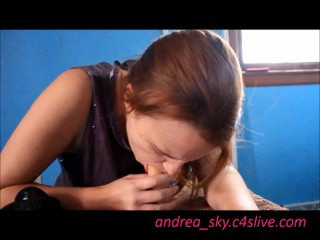 Practicing deep throat on my dildos- andrea sky