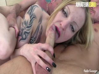 AMATEUR EURO -Dirty Babe Rides Cock While Blows Another