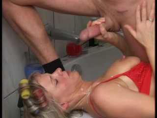 MILF cleans out plumbers pipe