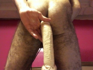 fuck machine with GIANT 16 inch dildo