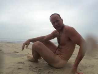 DOING NUDE EXERCISES ON THE BEACH