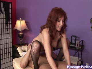 Sexy redhead masseuse gives extra service p.2