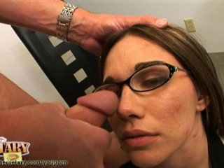 Dakota Brooks pushing pencils then sucking cock