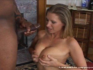 Black Dude Shoves His Huge Dick In Blondes Pussy