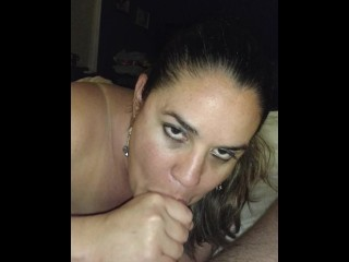 Cocksucking whore eats cum before bed…