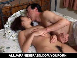Yuu Nemoto has hairy cunt doggy style fucked by sucked shlong