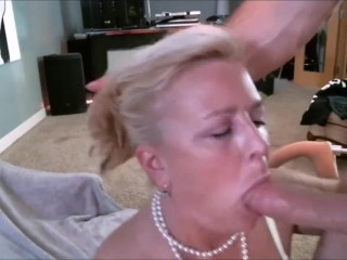 Hot BLonde MILF sucking and swallowing