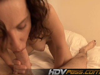 Blowjob and cumshot in bedroom.mp4