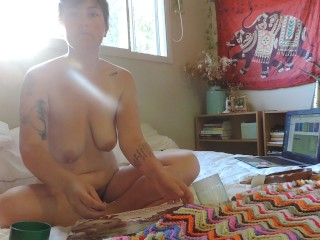 HD Milkymama smokes and teases laying in bed
