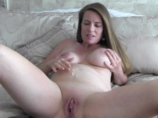 Playing With The Cum On My Pregnant Belly