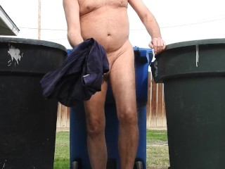 My cock peeing on garbage cans.