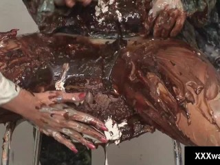 Messy kinky lesbians soak their bodies in fudge and cans of whipped cream