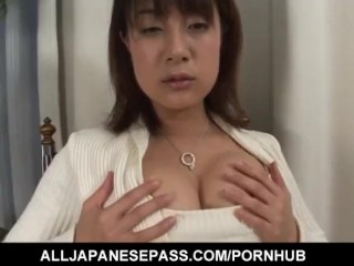 Smoking cutie Shinobu Mizushima with nice legs rubs pussy on chair arm