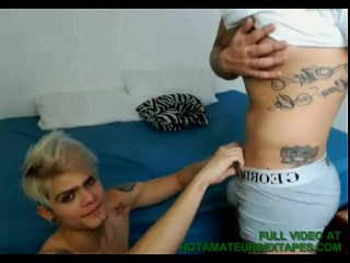 Tattooed Hunk Blowing His Lover On Cam