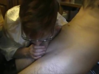 Horny Granny With Glasses Sucking Big Young Dick