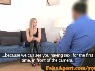 FakeAgent Shy Russian blonde amateur has first sex on camera