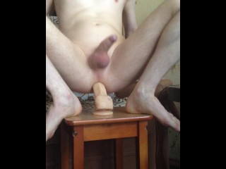 Fast jumping on a big dildo, with nice erection at the end!