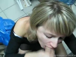 The Russian wife sucks off on work