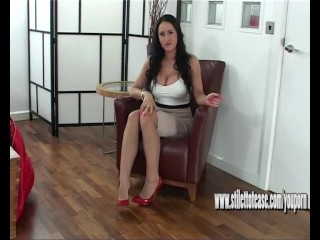 Naughty brunette tease wants your cum all over her big sexy high heels
