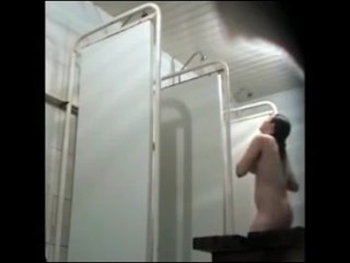Soaping cuties in public shower room