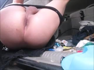 Sissy gets ass rimmed prostate milking post cum torture in back of suv