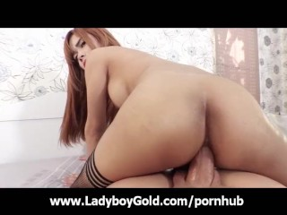 Busty Teen Ladyboy Swallows Fat Cock