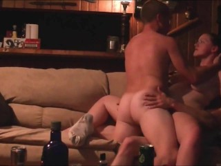 Horny brunette chick DP threesome