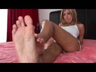 Barefoot blonde milf teases with buttery soft feeties joi