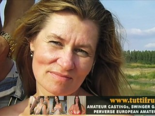 Public porn casting with huge tits euro milf