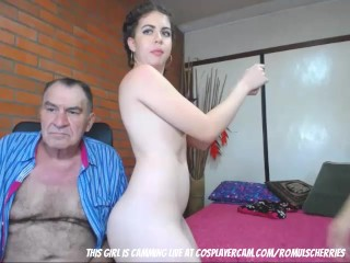 Two young hookers fucking old man
