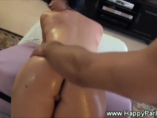 Pornstar gets hot titty and ass massage