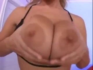 Big tits blonde fingering herself
