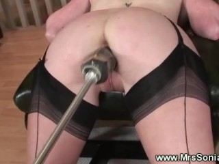 Fucking machine penetrates an old cunt